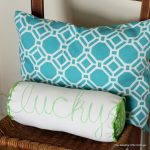 How to sew a bolster pillow -- make this great pillow for St. Patrick's Day or change up the word and color for anytime of the year. Full instructions for making and sewing this great pillow!