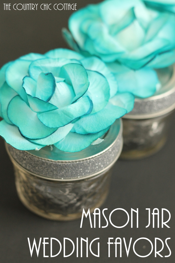 Mason Jar Wedding Favors -- add a flower to the top of a small mason jar for a great mason jar wedding favor that can be made in seconds!