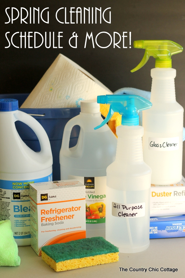 Get a printable spring cleaning schedule and checklist plus recipes for all natural cleaners in one post! Great way to keep your spring cleaning affordable this year!