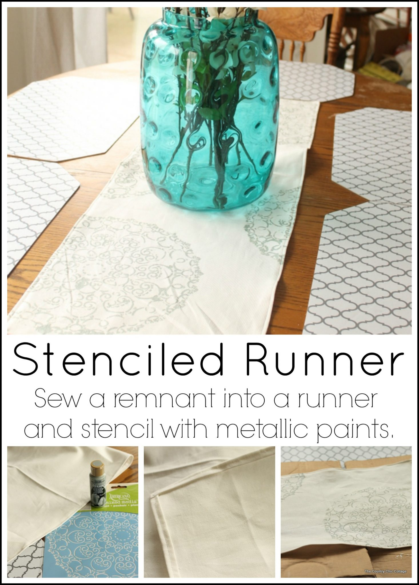 Make a stenciled runner for your table in a few simple steps!
