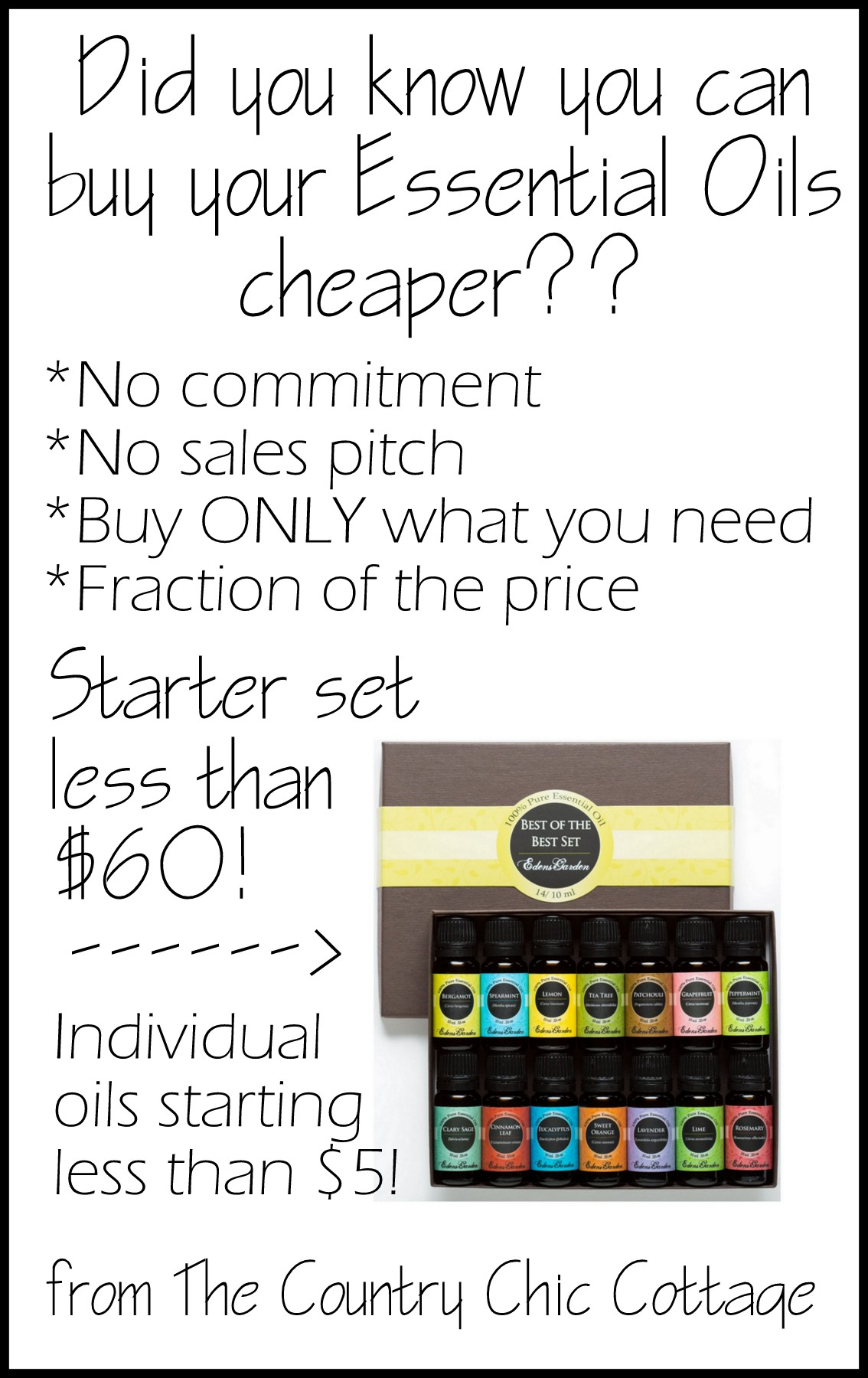 Tired of the sales pitch? Buy your essential oils online with no sales pitch, no commitment, and for a fraction of the cost!