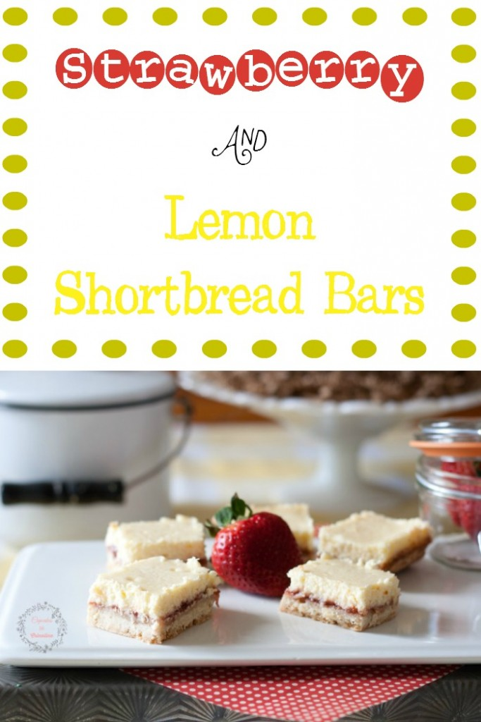 Fresh Strawberry Lemon Shortbread bars from cupcakesandcrinoline.com