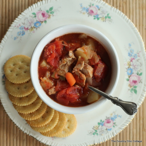 Crock pot pork stew -- throw everything into the slow cooker for a warm no fuss meal on a cold day.