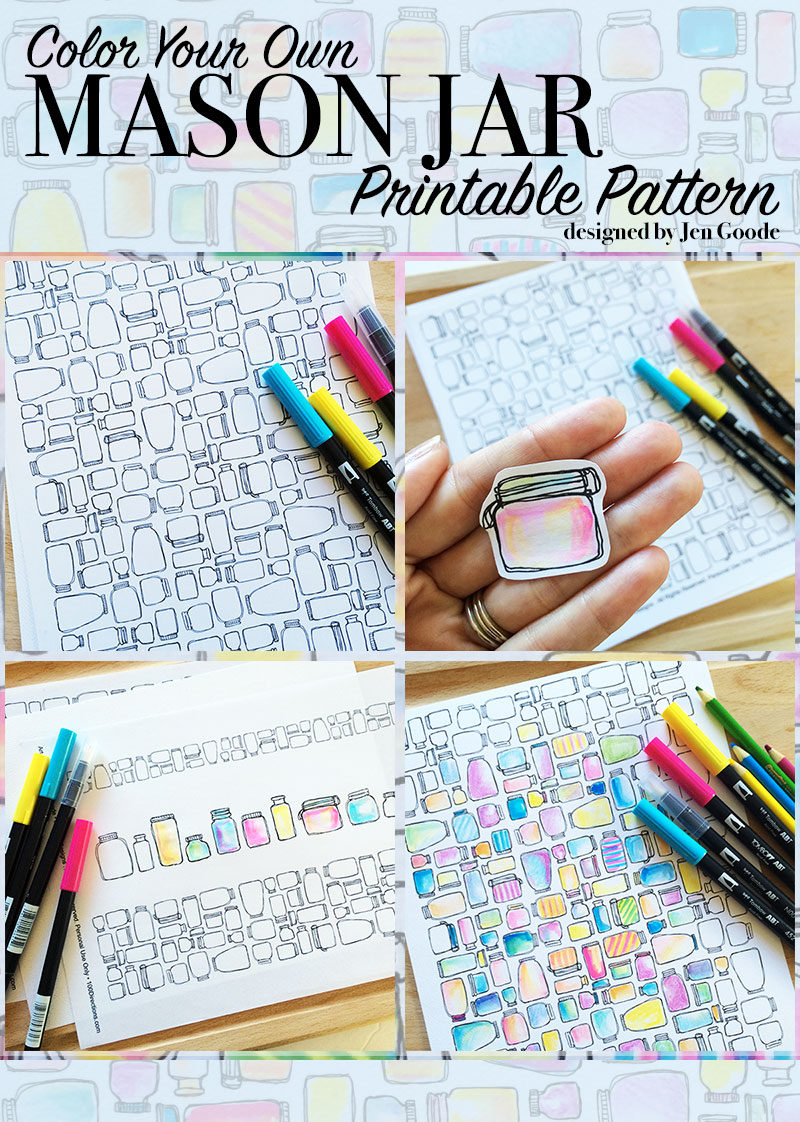 Mason Jar Pattern Printable set by Jen Goode