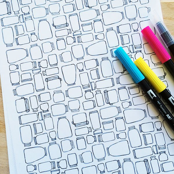 Mason Jar pattern line art designed by Jen Goode