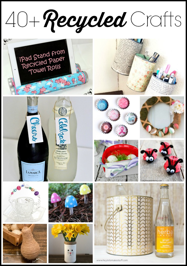 Get over 40 recycled craft ideas for Earth Day here! #recycled #crafts #diy