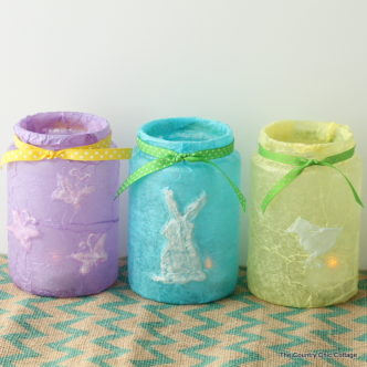 Easter Jar Centerpiece from Recycled Pickle Jars