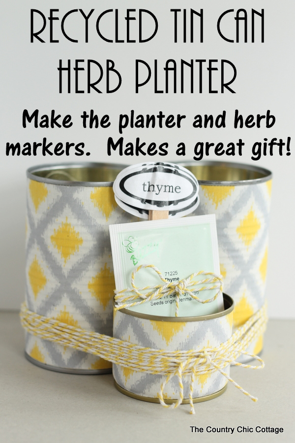 Turn recycled tin cans into a fabulous herb planter with this tutorial. Includes printable herb plant markers as well. Makes a great gift for any gardener!