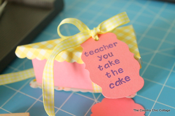 Cake slice teacher gift -- make this paper cake slice and fill with the teacher gift of your choice!