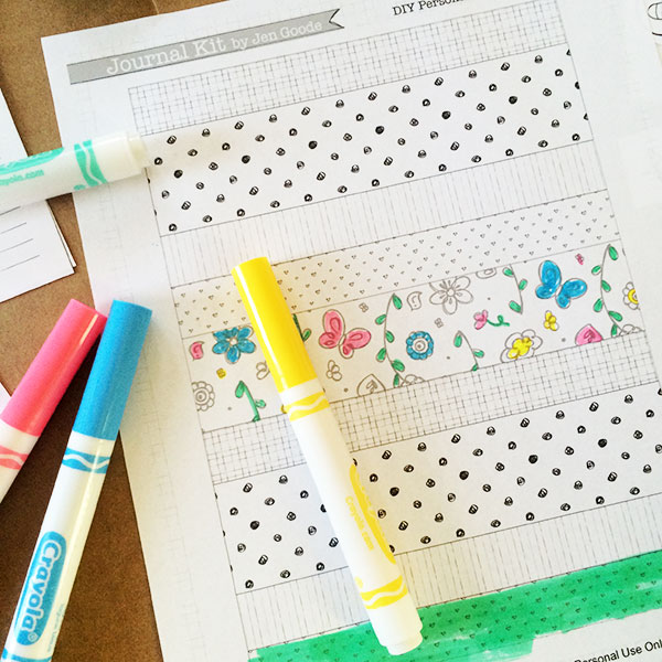 Color the pattern paper strips to use in your journal