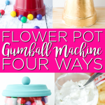 You can make a DIY gumball machine with clay pots! This cute craft idea is perfect for your home's decor and can be used for other candy and more as well! #gumballmachine #flowerpots #claypots #craftidea #crafts