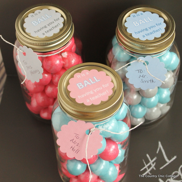 Gumball Mason Jar Teacher Gift The Country Chic Cottage