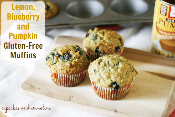 Lemon, blueberry and pumpkin gluten-free muffins from cupcakesandcrinoline.com