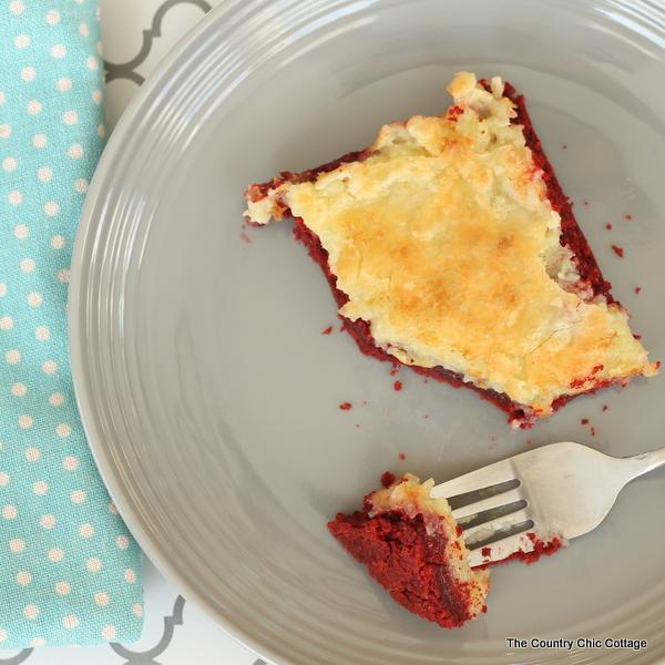Red velvet cream cheese gooey cake -- this recipe is amazing!