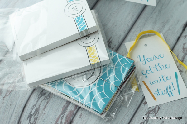Teacher Appreciation Gift Idea -- add monogrammed notepads and cards to a fun gift bag with this free printable tag for a perfect teacher gift in minutes.