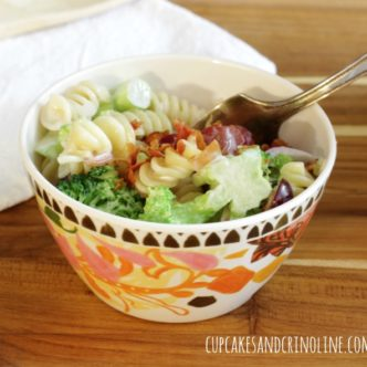Broccoli Pasta Salad with Red Grapes and Bacon from cupcakesandcrinoline.com