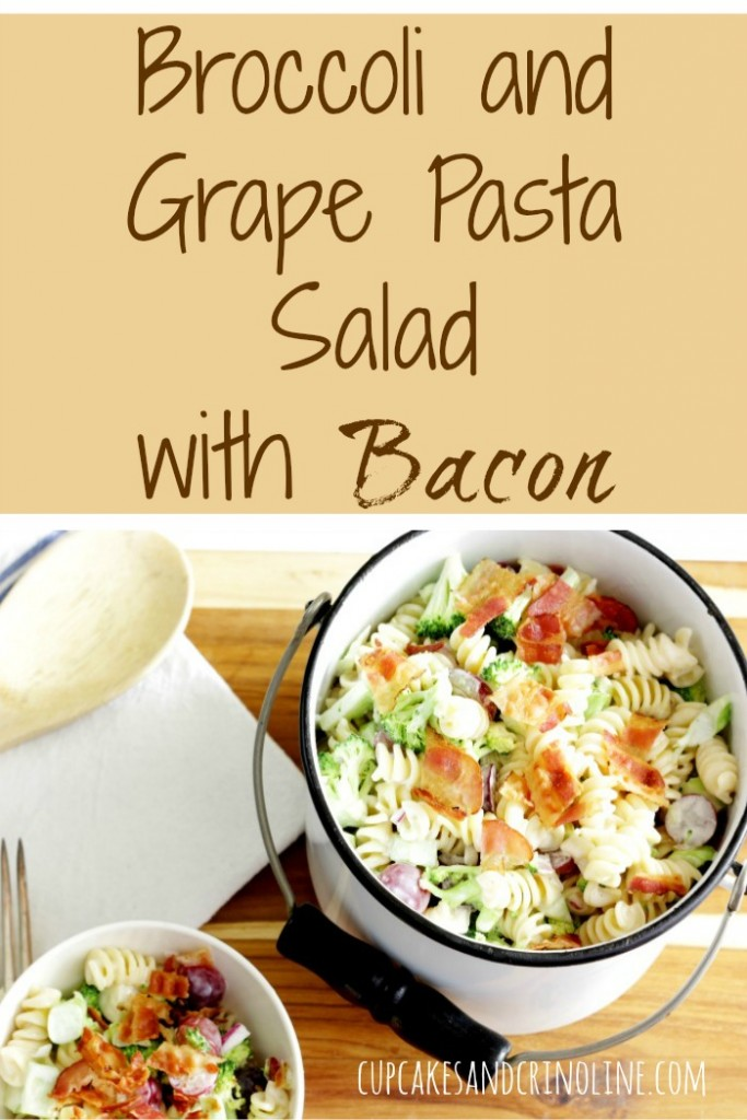 Broccoli and Grape Pasta Salad with Bacon from cupcakesandcrinoline.com