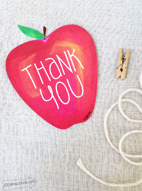 Printable apple Thank You gift tags