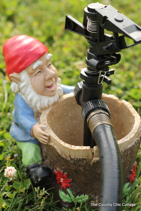 Make your own gnome sprinkler to water your garden or lawn in style! A quick and easy project for your home!