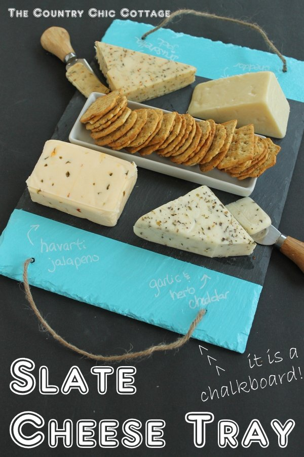 Slate Cheese Tray -- add colorful chalkboard stripes to the edge with this method and have a slate cheese tray for your next party!