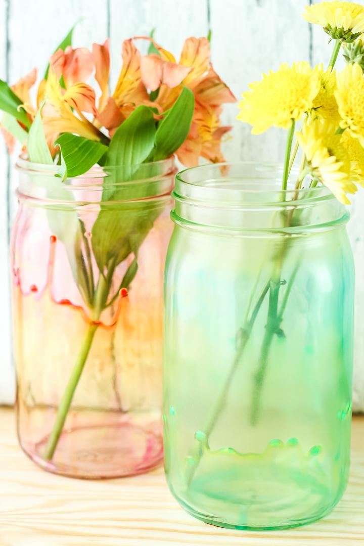 how to paint a mason jar vase