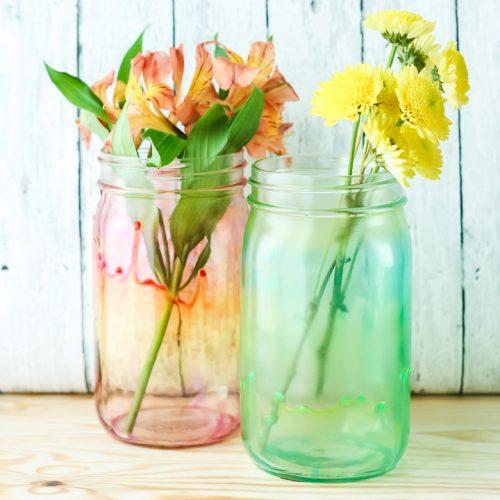 mason jar with watercolor look
