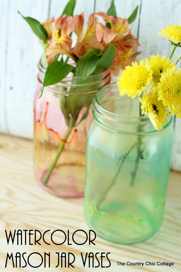 Make these watercolor mason jar vases with glass stain and a few easy steps!