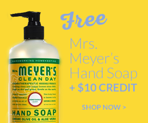 Try out ePantry and get a free Mrs. Meyer's hand soap plus a $10 credit on your order! A great all natural subsciption service that will deliver all natural cleaners to you wherever you are!