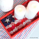 Make this button flag tray for summer parties and decor. Click to see the tutorial for making this!