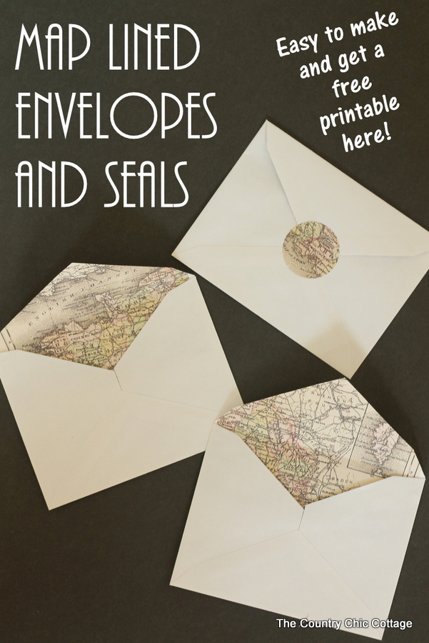 An awesome method for making map lined envelopes the easy way!  The map lining and matching seals are a free printable!  Great for weddings or any invitations!