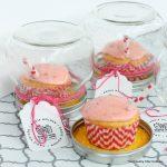 An adorable cupcake gift idea with a recipe for strawberry lemonade cupcakes!