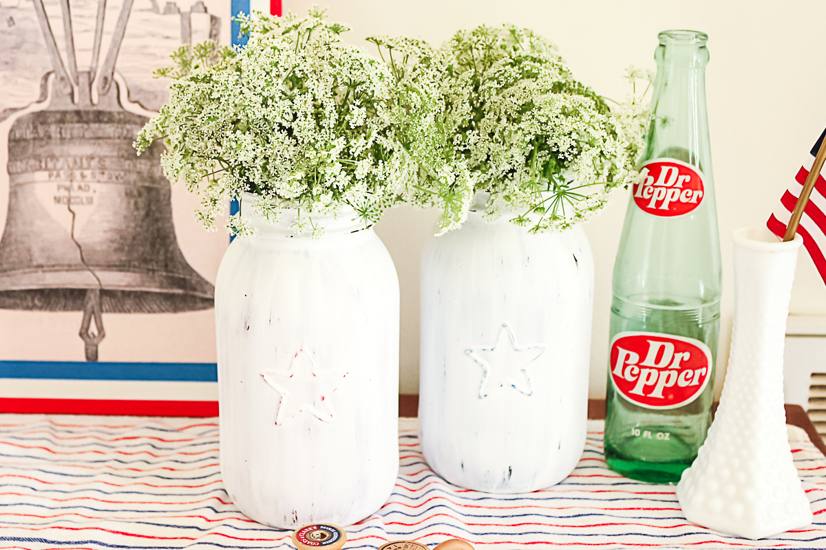 mason jar vases for the fourth of july