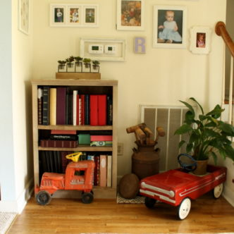 Farmhouse Style Foyer and Bookshelf