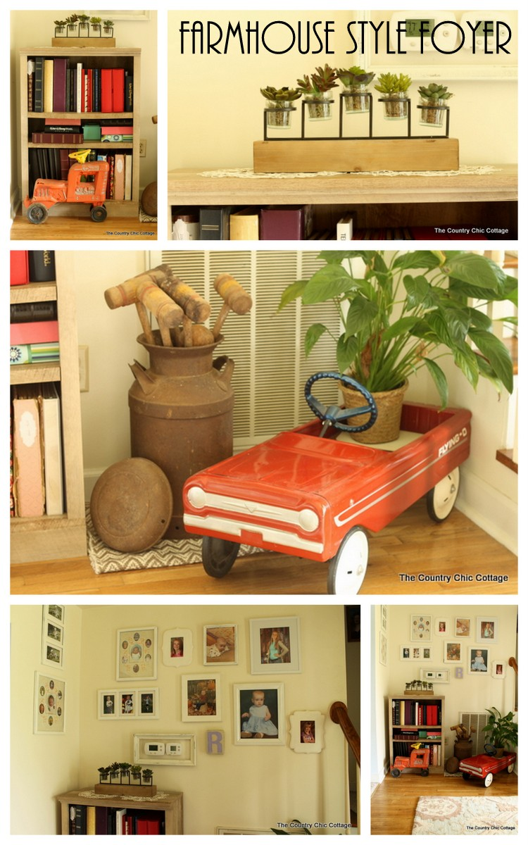 Farmhouse Style Foyer And Bookshelf The Country Chic Cottage