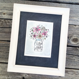Floral Art Card framed decor - free printable by Jen Goode