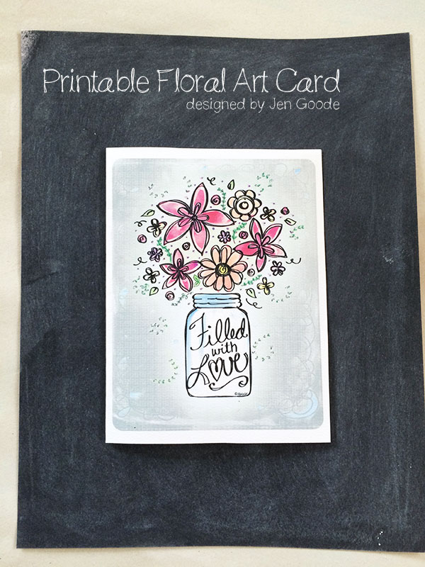 Mount the floral art card on a chalkboard style background.