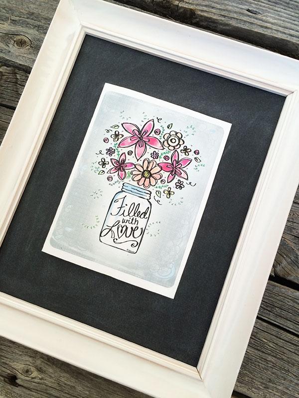 Floral art card decor