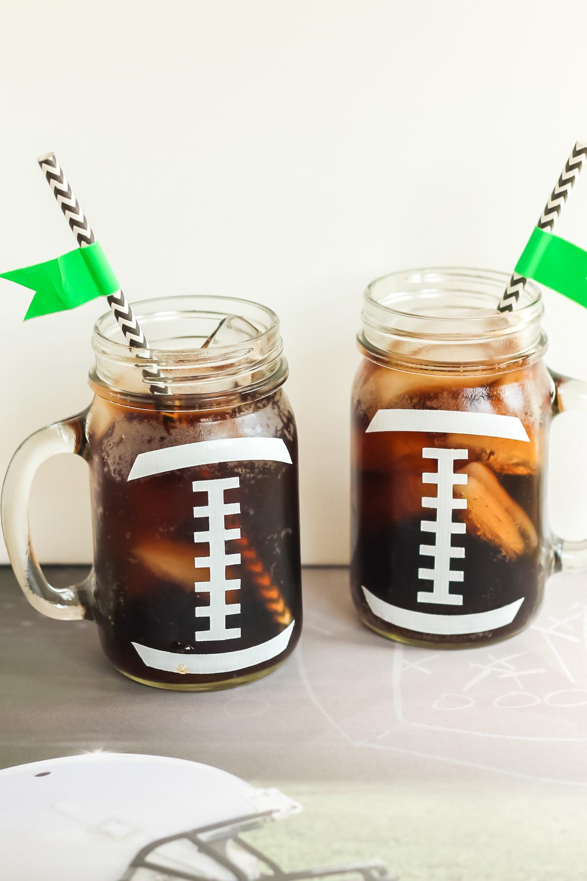 mason jars that look like footballs