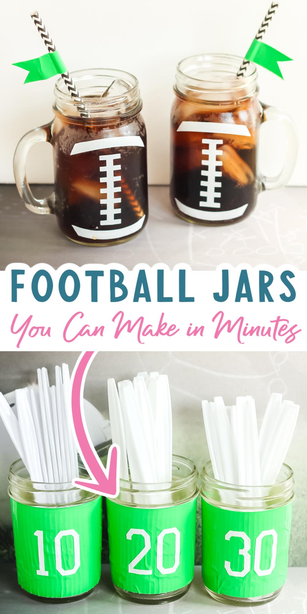 football themed mason jars