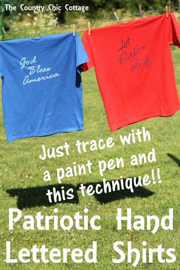 Make a patriotic hand lettered shirt that is as easy as tracing a print out! Get the prints for free as well or make your own with a font on the computer.