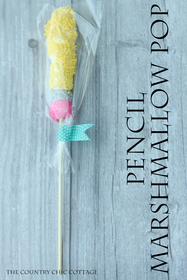 Pencil marshmallow pop -- a fun treat for back to school or to give to the teacher!