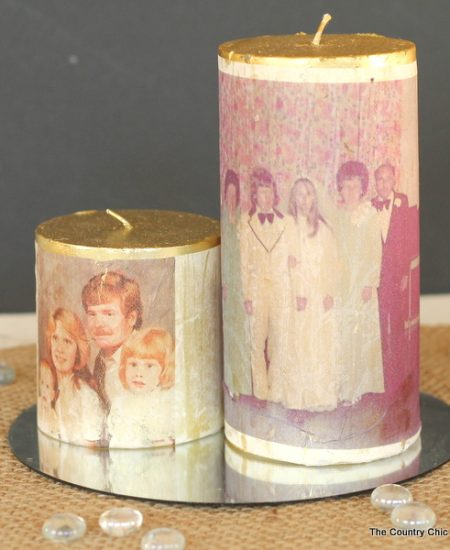 You can make these photo transfer candles in just minutes. Perfect for parties, anniversaries, weddings, and more!