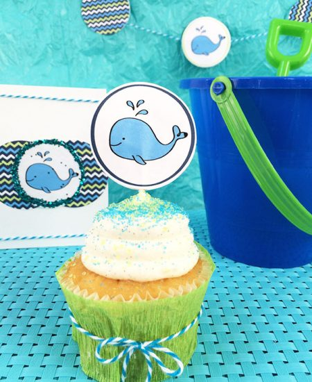 DIY Baby Whale Party Decor and free printable designed by Jen Goode