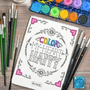 color my heart happy page