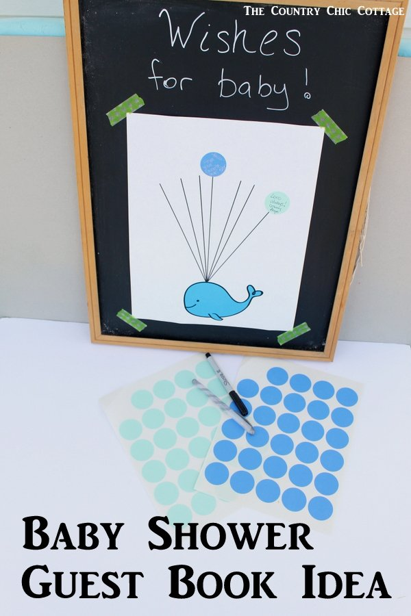 baby shower guest book idea with free printable whale art turn this