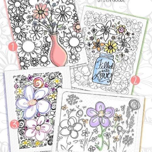 floral doodles coloring page