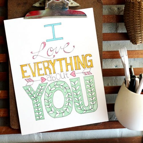 i love everything about you coloring page