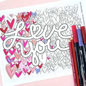 love you coloring page
