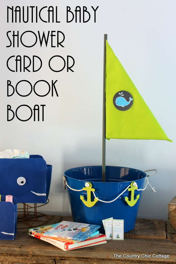 Nautical baby shower decor - make this boat for collecting cards or books during the shower. Comes with a printable insert to ask guests to bring books instead of cards.