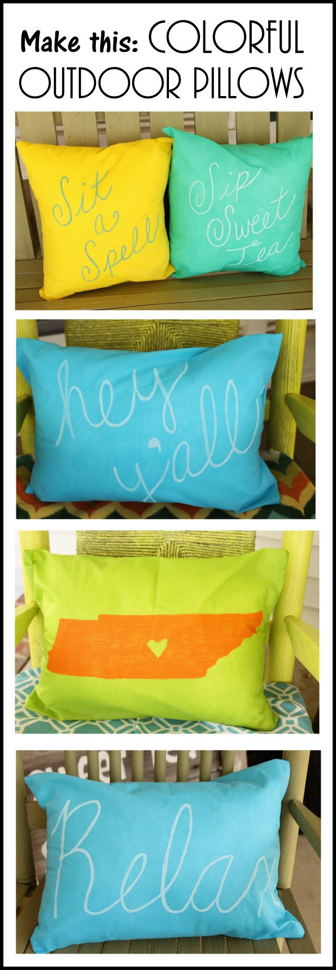 Fun and colorful outdoor pillow that you can make in just a few minutes!  Add fun quotes and more to the front with this simple technique!